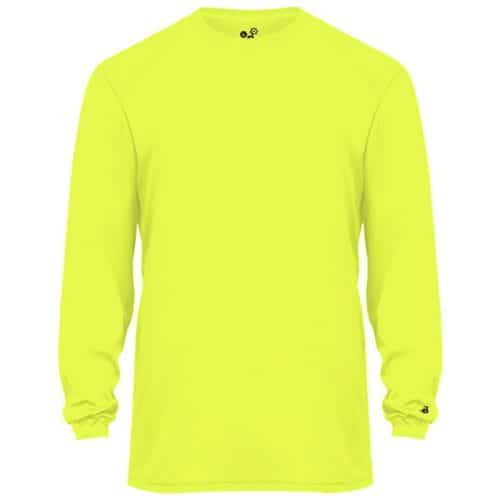 Badger Long Sleeve Dry Fit Performance Safety Green Shirt