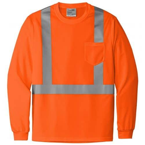 Long Sleeve Class 2 Safety Orange Shirt