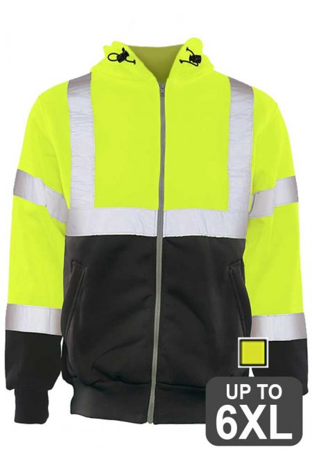 Full Zip Black Bottom Safety Sweatshirt
