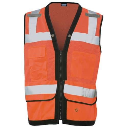 ERB Safety Orange Vest with iPad Tablet Pocket