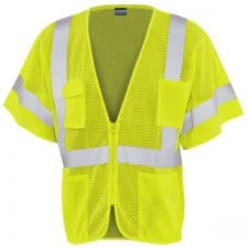 Safety Green Class 3 Vest With Zipper