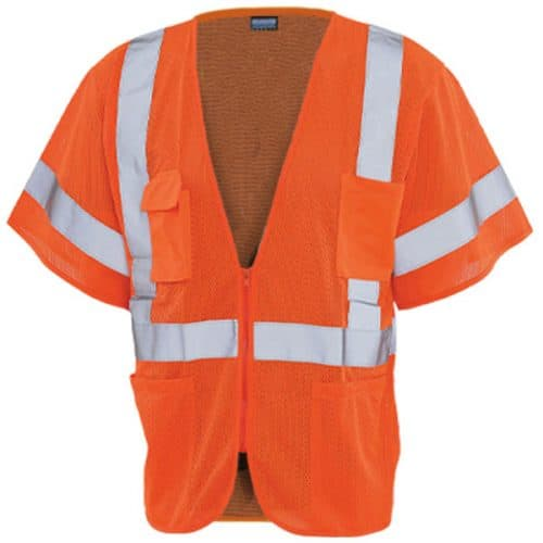 Safety Orange Class 3 Vest with Zipper