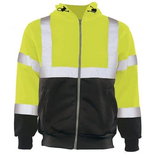 ERB Full Zip Hooded Safety Green Sweatshirt