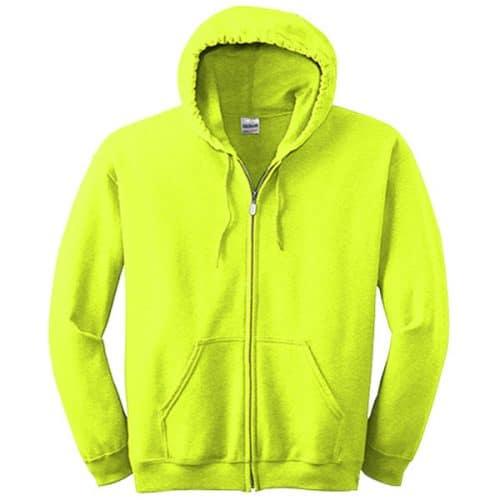 Full Zip Hooded Safety Green Sweatshirts