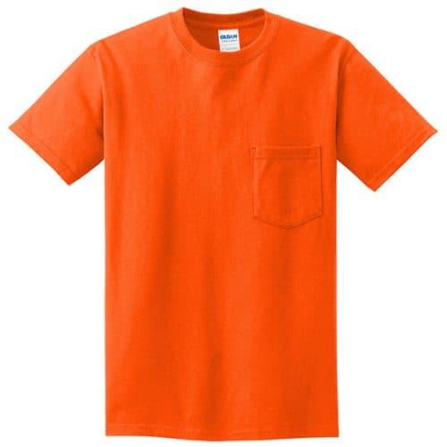 Gildan Safety Orange Pocket Shirt