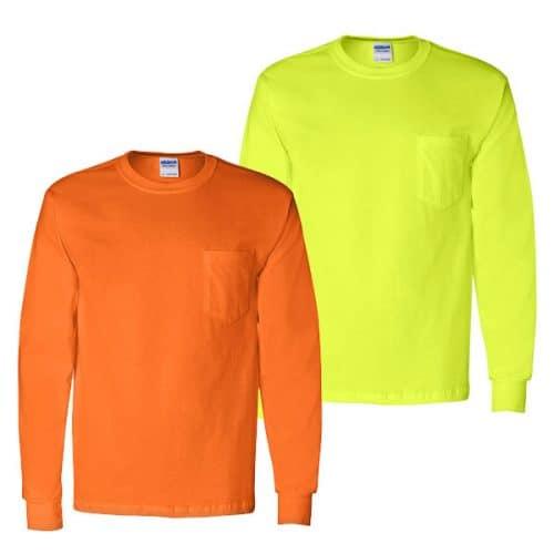 Gildan Long Sleeve Pocket Safety Shirts