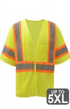 Class 3 Two Tone Mesh Zipper Safety Vest