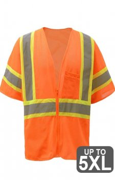 Class 3 Two Tone Safety Orange Zipper Safety Vest