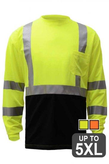 ANSI Class 3 Long Sleeve Black Bottom Safety Shirt