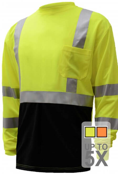 ANSI Class 3 Long Sleeve Black Bottom Safety Shirt