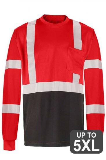 Red Long Sleeve Reflective Safety Shirt