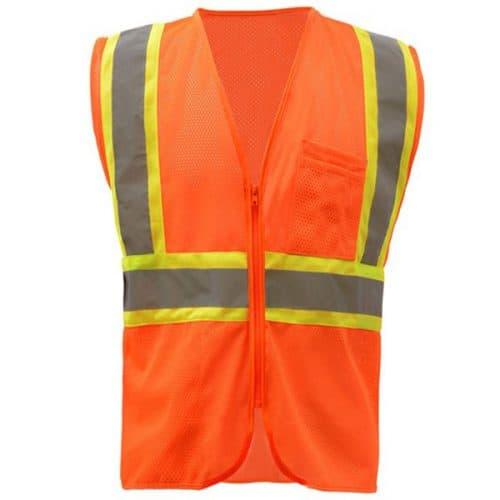 GSS Class 2 Safety Orange Vest with Contrast Trim