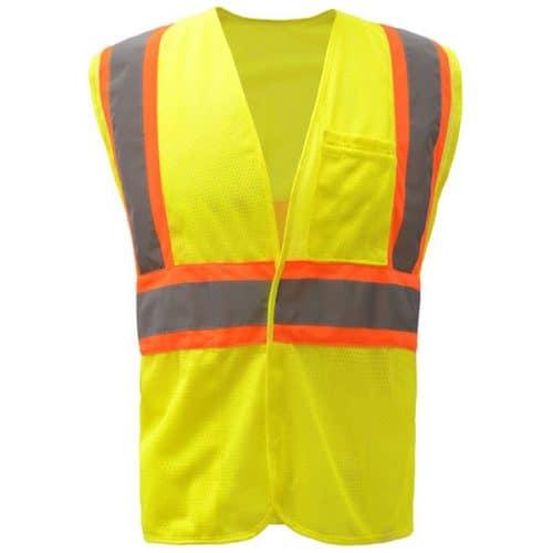Safety Green Safety Vest with Orange Trim