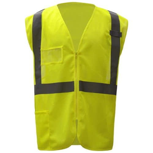 Safety Green Vest with ID Pocket and Zipper
