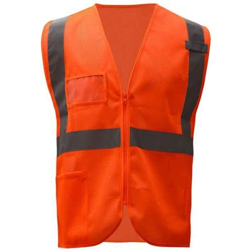 Safety ORange Vest with ID Pocket and Zipper