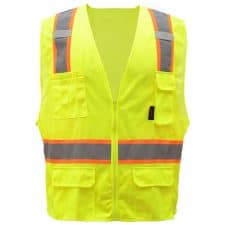 Safety Green Vest With Contrast Trim And Zipper