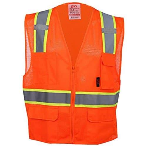 Safety Orange Vest with Contrqa