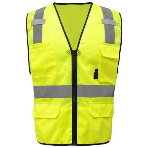 Safety Green Safety Vest with 6 Pockets