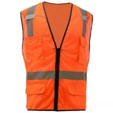 GSS Class 2 Safety Orange Mesh Vest With 6 Pockets