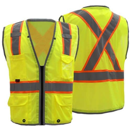 Safety Green Vest with X Back