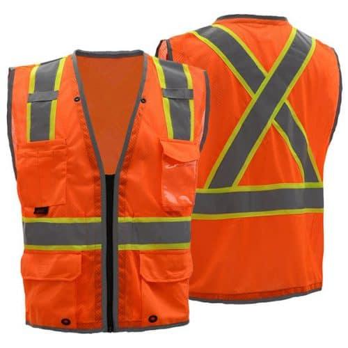 Safety Orange Vest with X Back
