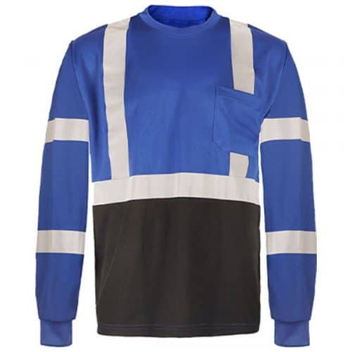 Long Sleeve Blue Safety shirt with Reflective Stripes