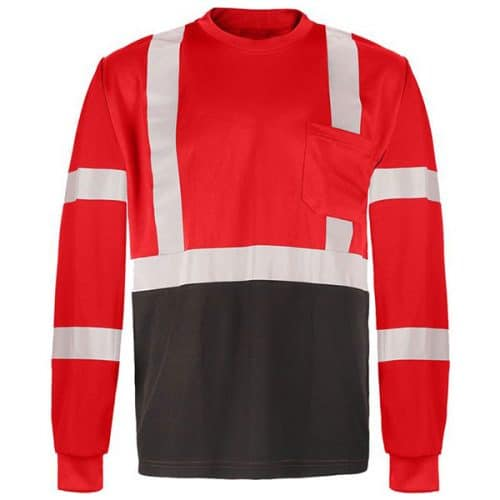 GSS Red Non-ANSI Long Sleeve Reflective Stripe Shirt
