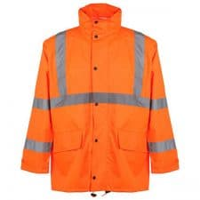 GSS Class 3 Safety Rain Jacket With 2 Patch Pockets In Safety Orange