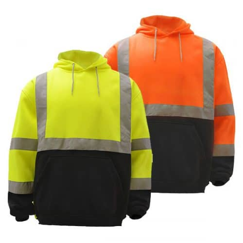 Safety Hooded Sweatshirts with Reflective Tape