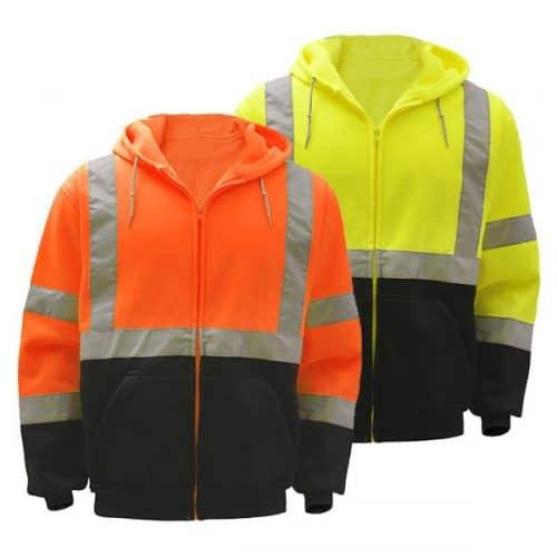 Full Zip Hooded Safety Sweatshirts