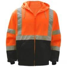 Safety Orange Full Zip Hooded Sweatshirt