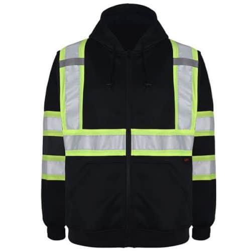 Black Full Zip Safety Hoodie