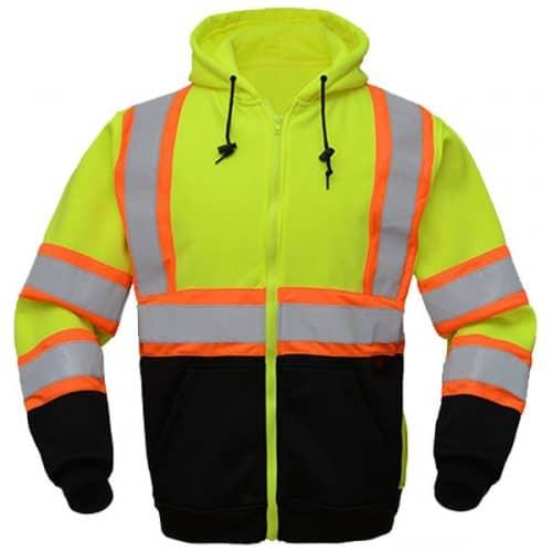 Safety Green Full Zip Hooded Sweatshirt