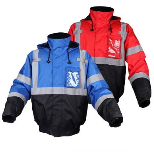 Blue and Red Reflective Safety Bomber Jacket
