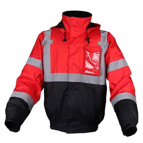 Red Safety Bomber Jackete