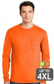 Hanes Long Sleeve Pocket Safety Shirt