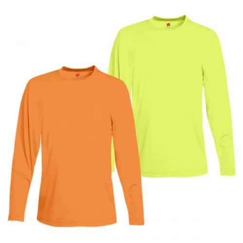 Hanes 482LS Long Sleeve Dry Fit Safety Shirts