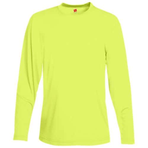 Hanes Long Sleeve Dry Fit Safety Green Shirt