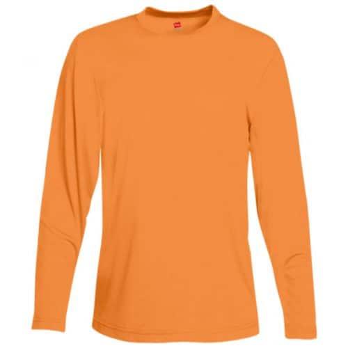 Hanes Long Sleeve Dry Fit Safety Orange Shirt