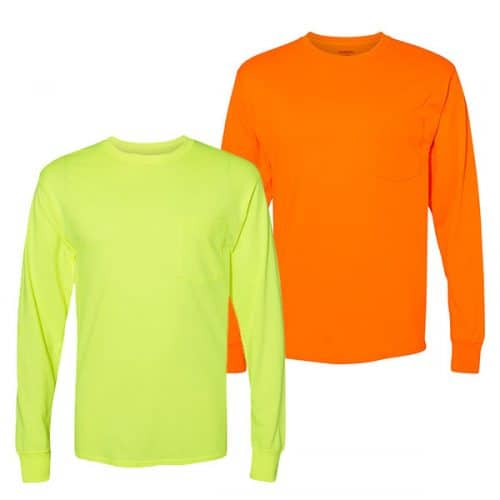 Hanes Long Sleeve Safety Shirts with Pocket