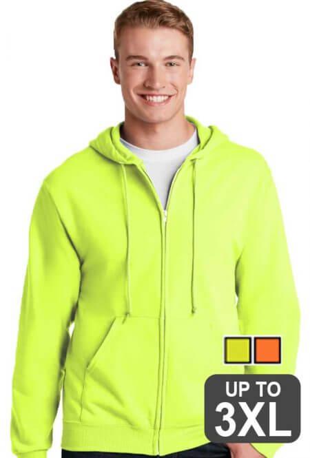 Jerzees Full Zip Safety Sweatshirt
