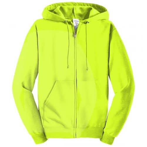 Jerzees Safety Green Full Zip Hooded Sweatshirt