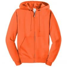 Jerzees Full Zip Safety Orange Hooded Sweatshirt