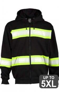Kishigo Non-ANSI Black Enhanced Visibility Full-Zip Hooded Sweatshirt