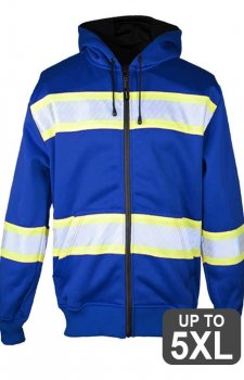 Kishigo Non-ANSI Blue Enhanced Visibility Full-Zip Hooded Sweatshirt