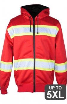 Kishigo Non-ANSI Red Enhanced Visibility Full-Zip Hooded Sweatshirt