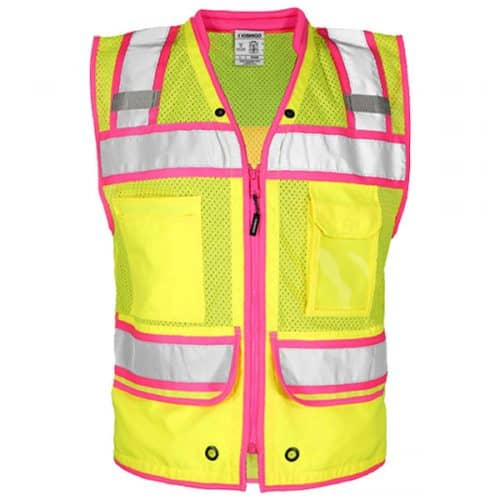 Kishigo Surveyors Vest with Pink Trim