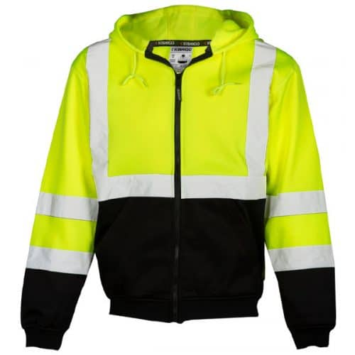 Kishigo Safety Green Full Zip Hooded Sweatshirt