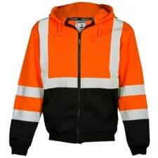Safety Orange Full Zip Hooded Sweatshirt From Kishigo