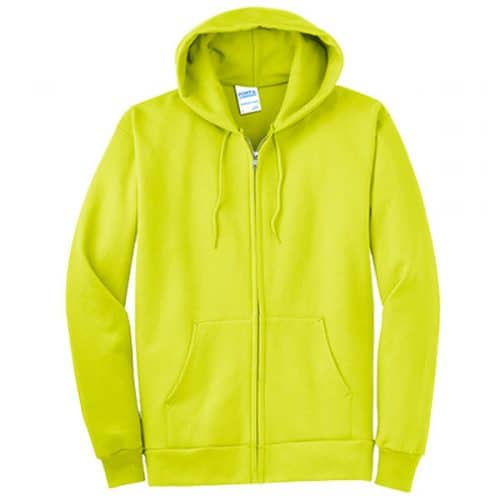 Port and Company Full Zip Safety Green Hooded Sweatshirt
